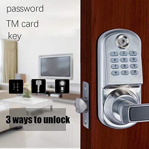 GO2PLAY Keypad Door Lock Digital Smart Door Lock for 28 to 60mm Thickness Doors Unlock with Password TM Card Key Silver 868141