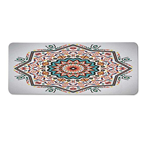YOLIYANA Tribal Durable Long Door Mat,Abstract Aztec Style Kaleidoscope Themed Boho Ethnic Sun Pattern Art Print Decorative for Home Office,One Size ()
