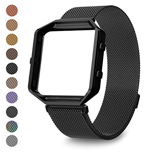 - LEEFOX Compatible with Fit bit Blaze Band and Frame, Black Milanese Stainless Steel Replacement Accessories Wristband for Fit bit Blaze Fitness Tracker Women Men Small Large Bracelet