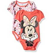 Disney Girls' Baby Minnie Mouse Two-Pack Bodysuits, Selfie Pink, 6-9 Months