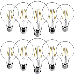 Sunco Lighting 10 Pack G25 LED Bulb, Dimmable, 5.5W=60W, 2700K Soft White, Vintage Edison Filament Globe, 500 LM, E26 Base, Indoor/Outdoor Lights - UL
