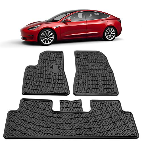 Model 3 All Weather Waterproof Floor Mats Compatible for Tesla Model 3 - Heavy Duty - Black Rubber Environmental Materials Car Carpet Model 3 (3 Piece a Set) (2D Floor mats)