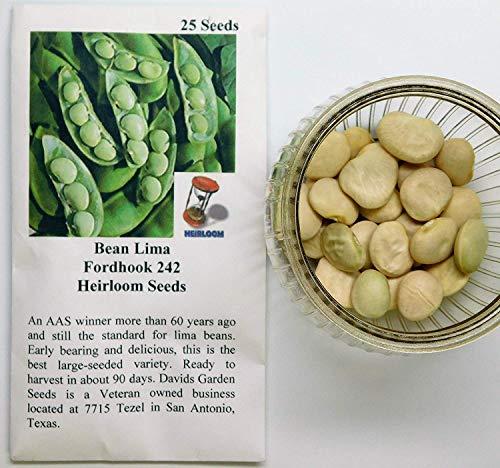 David's Garden Seeds Bean Lima Fordhook 242 SL4949 (Green) 25 Heirloom Seeds
