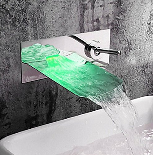 GOWE Chrome Water Led Bathroom Tap Faucet Temperature Color Changing LED Waterfall Wall Mount Bathroom Sink Faucet 1