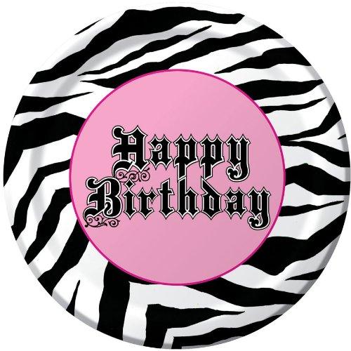 Creative Converting Super Stylish Happy Birthday 8 Count Paper Lunch Plates (Happy Halloween Pink Zebra)