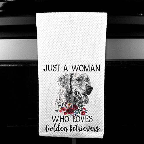 Just a Woman who Loves Golden Retrievers Microfiber Kitchen Towel Gift for Animal Dog Lover