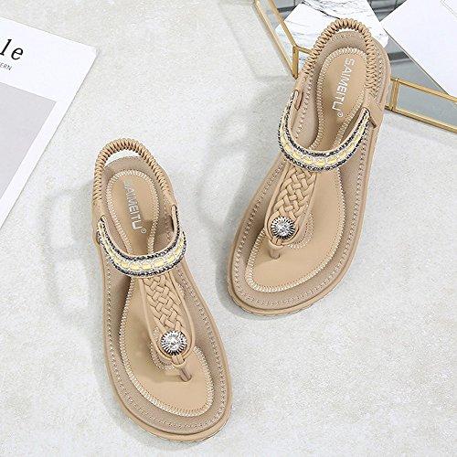 Shiny Sandalen Größe Woven Bohemian Damen Sommer 36 44 brown Flache Diamonds Sandalen 1CXYRwq