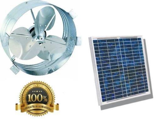 Ultra Premium Industrial Grade Solar Gable Attic Fan, Rust Prevention Galvanized Steel, Highest Efficiency Blades, Long Lasting Brushless DC Motor, Black Frame Solar Panel, RV, Green House