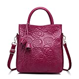 (US) Designer Genuine Leather Handbag Women Tote Bag Floral Embossed Shoulder Bag by Realer(Purple)