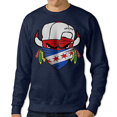 BestGifts Men's Chicago Sports Logo Mixed Crew Neck Hooded Sweatshirt Navy Size - Cutler Draft Jay
