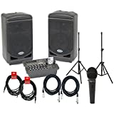 Samson XP308i Portable PA w/Built-In iPOD Dock, LS2 Speaker Stands, (2) XLR Cables (2) Instrument Cables, and Microphone!