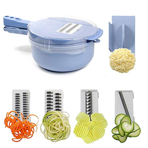 (Melzoon Onion Chopper Multi Function Cutter & Slicer & Grater, Vegetable Chopper with 4 Dicing Blades & Keep-Fresh Lid, Vegetable Slicer with Egg Separater Food Chopper More Container Capacity (Blue))