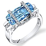 Peora 14K White Gold Elongated Cushion Swiss Blue Topaz Diamond Ring (4.28 cttw)