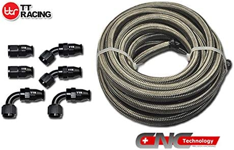 -6 AN6 PTFE Black Swivel Fittings & Stainless Steel Fuel Line Hose Kit E85 12ft PTFEAN6_KIT_XIAO_BK 51Csikyp8OL