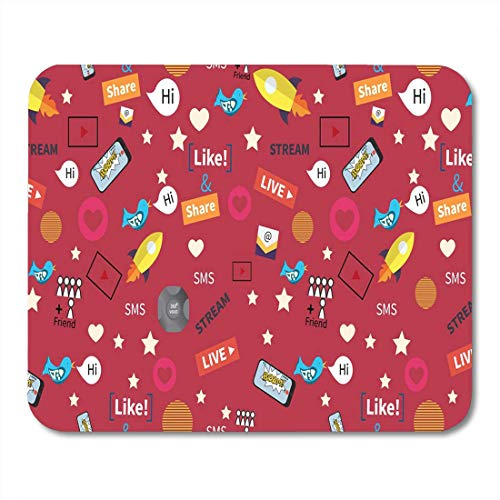 Mouse Pad Digital Marketing Abstract Pattern Social Media Rocket Ship Bird Mousepad for Notebooks,Desktop Computers Mouse Mats, Office Supplies