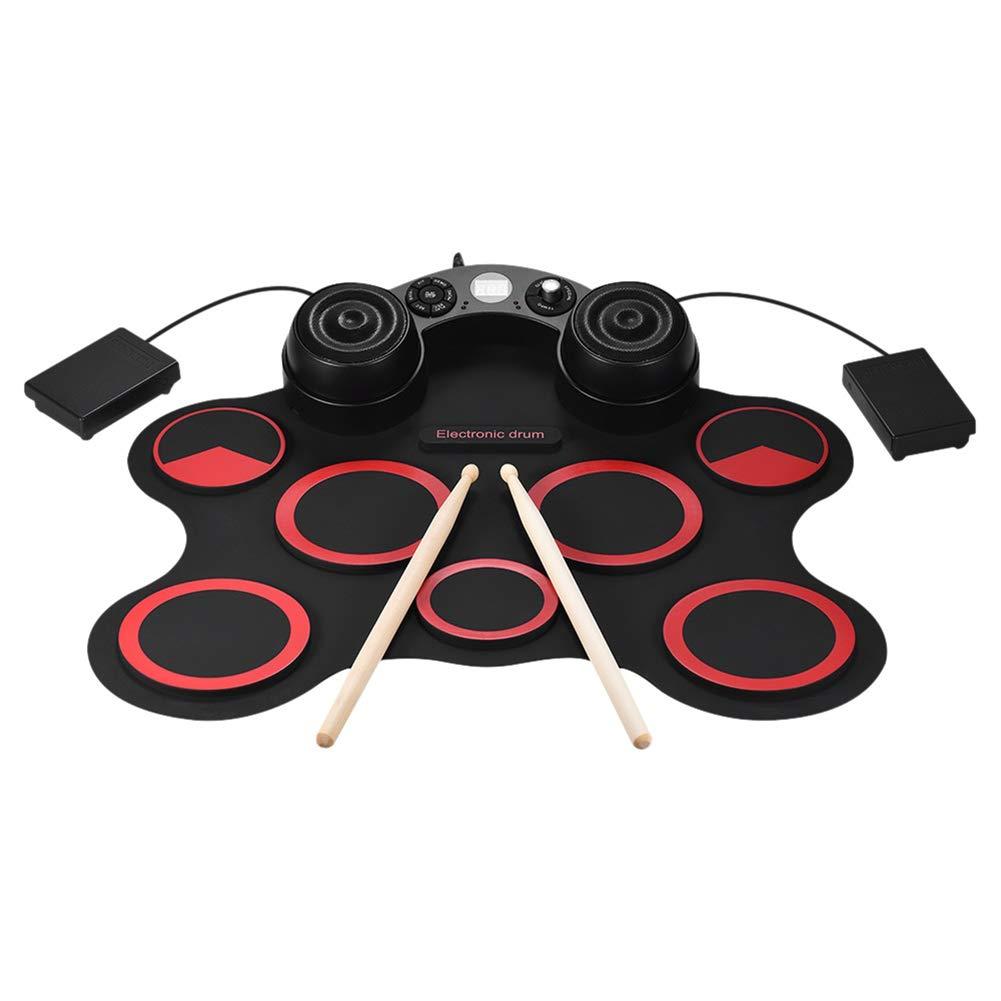 MIDI 電子ドラムキット、重ね内蔵スピーカー、ヘッドフォン 入力、素晴らしい休日の誕生日ギフト子供のため Red B07ML5QKTW ジャック、AUX  ポータブル