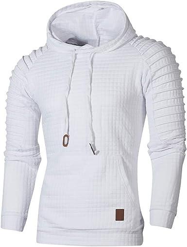Sweat Shirt à Capuche Plissée Plaid Casual Homme Sweats à