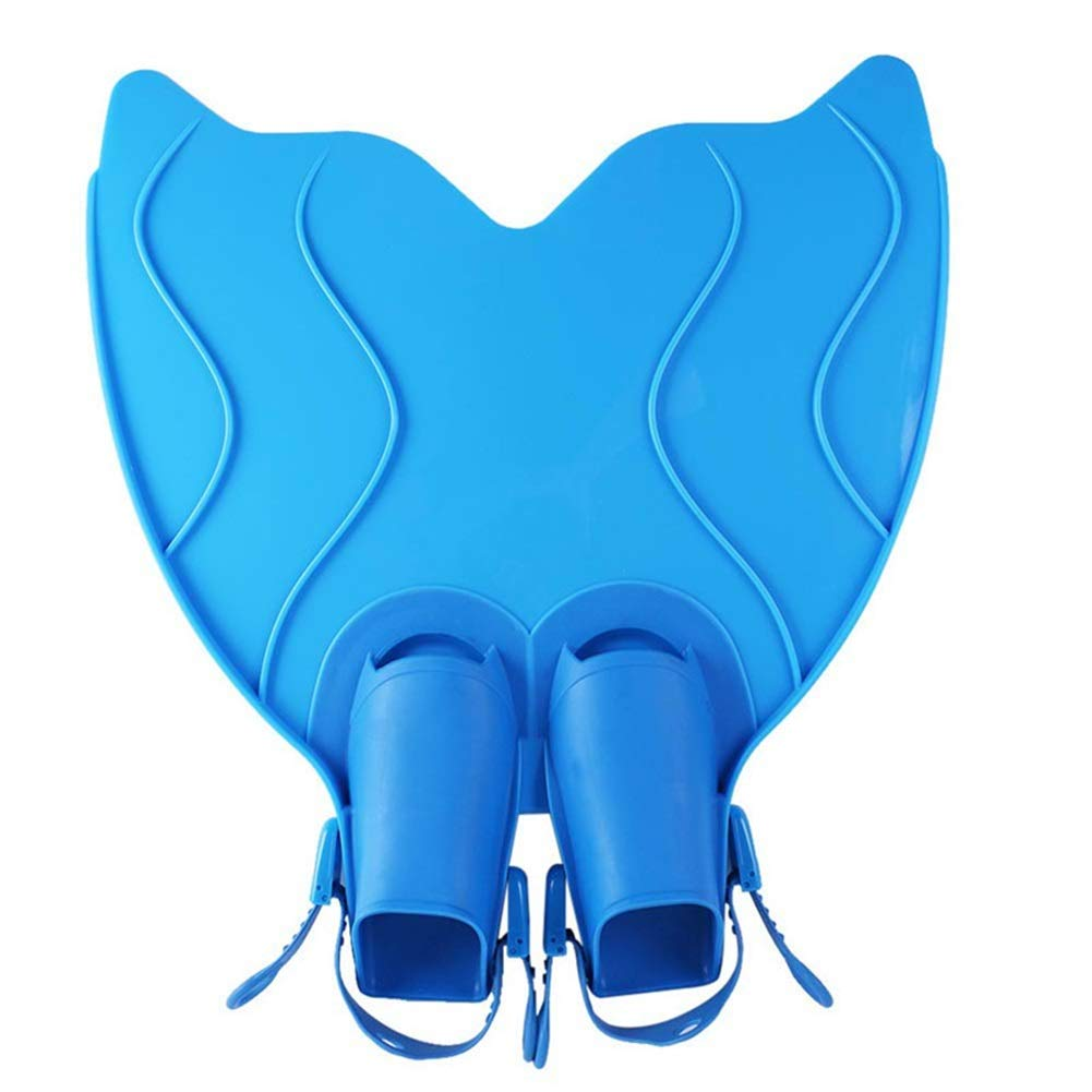 Swimming Fins, Mermaid Children Fins Diving Swimming Cute Fish Tail Shape Automatic Lock Buckle (Color : Blue)