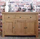 Chunky Solid Oak Furniture Large Living Dining Room Sideboard