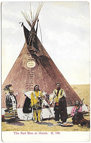 Postcard Teepee (Postcard The Red Man at Home, Indians with a Teepee~101049)