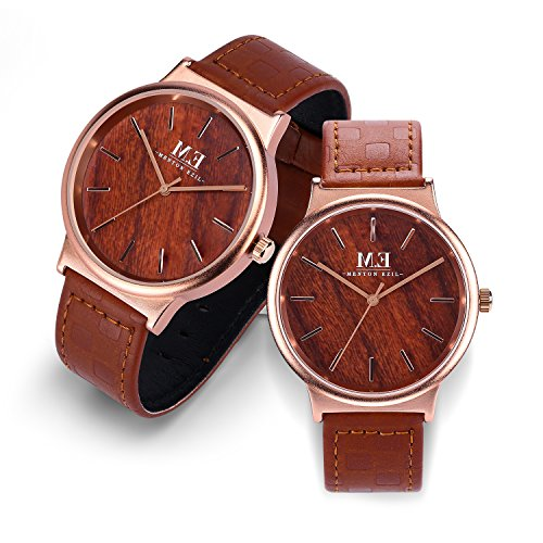Wooden Couple Watch for Women Men Friendship Relationship 30M Waterproof Classic Quartz Analog Rose Gold Wrist Watches with Brown Leather