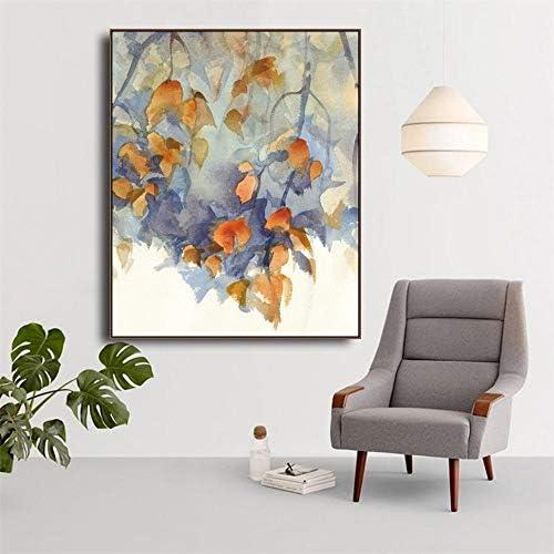 Llxhgキャンバス絵画書道葉ポスタープリント抽象水彩壁アート写真リビングルーム家の装飾-60×80センチなしフレーム