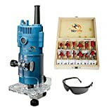 Toolscentre Powerful Multifunctional Trimmer Machine With 12Pcs Multi Shaped Router / Trimmer Bit Set Combo With Wooden Box 1/4' (6.35mm Shank)