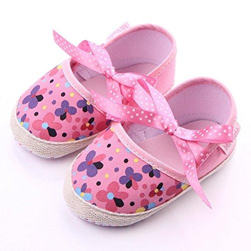 etrack-online bebé niña prewalers Mary Jane zapatos de suela suave antideslizante Floral lavanda Talla:12-20months rosa