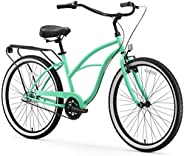 sixthreezero Around The Block Women's 3-Speed Cruiser Bicycle, Mint Green w/Black Seat/G