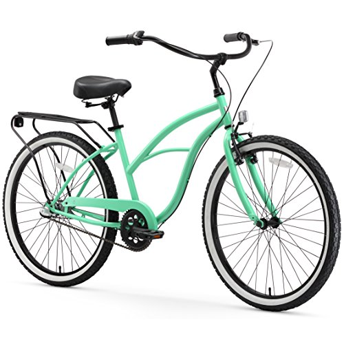 sixthreezero Around The Block Women's 3-Speed Cruiser Bicycle, Mint Green w/ Black Seat/Grips For Sale