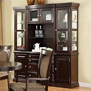 Evelyn Buffet Hutch In Dark Walnut By Furniture Of America