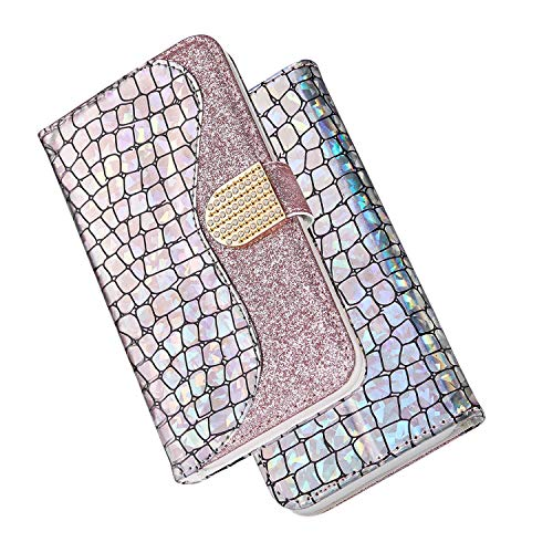 DEFBSC iPhone 6 Plus 6S Plus Stitching Crocodile Pattern Wallet Case, Magnetic Bling Glitter Sparkly Case Cover with Card Slots,Flip PU Leather Wallet Case Cover for iPhone 6 Plus /6S Plus,Rose Gold (Leather 6 Cases Crocodile Iphone)