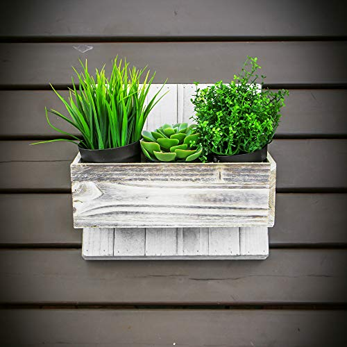Flower Planter Designs - Wood Planter Box Set, Rustic Whitewash, Country House Charm, Plastic Liners, Long Rectangle, 12 x 4 Inch, Wedding Decor and Floral Arrangements, Natur