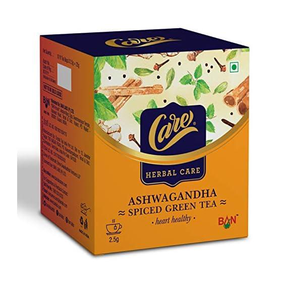 Care Ashwagandha Spiced Green Tea | Immunity Booster Herbal Tea | Detox Desi Kahwa Green Tea with Herbs Like Cinnamon