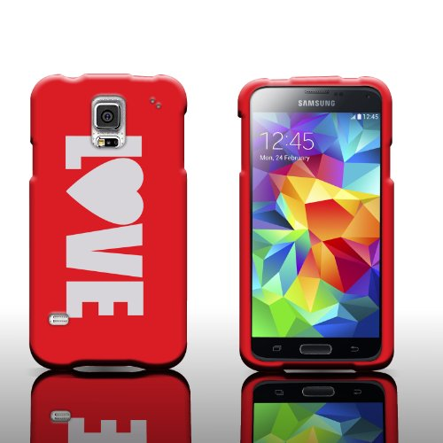 Red Love Design Case For Samsung Galaxy S5 by CoverON® Slim Protective Cover