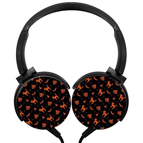 Halloween Pumpkin Cat Headphones 3D Printed Over-Ear Lightweight Headphone for Kids Men Woman