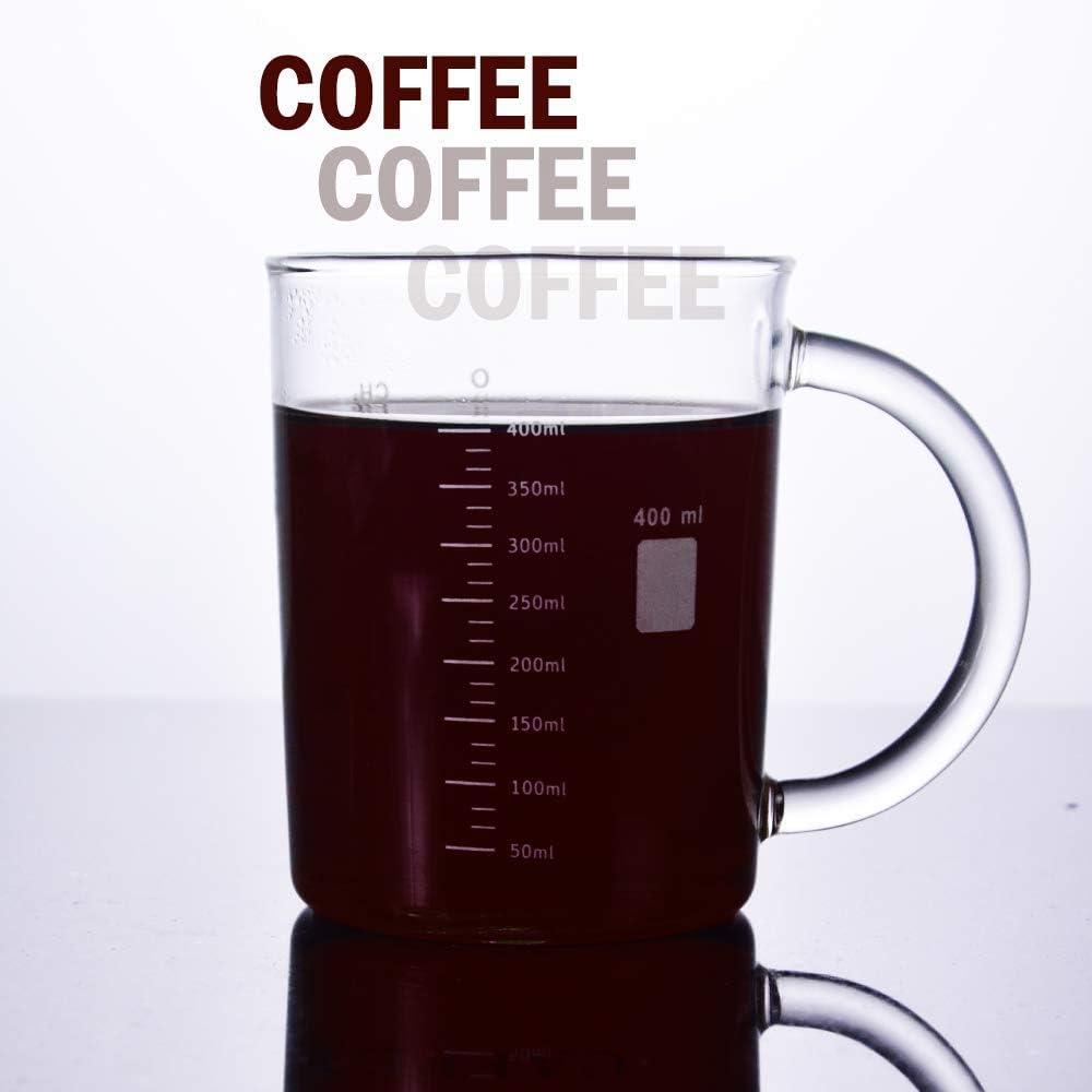 Max 16.9-ounce Anti-dripping Borosilicate Glass Measuring Cup Stylish Beakers Print Coffee Warmer Mate GLASKEY Caffeine Mug