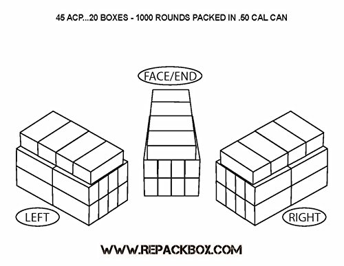 Review REPACKBOX 30 Box Kit – 45 ACP Military Cardboard Ammo Box Holds 50 Rounds – PACKS 1500