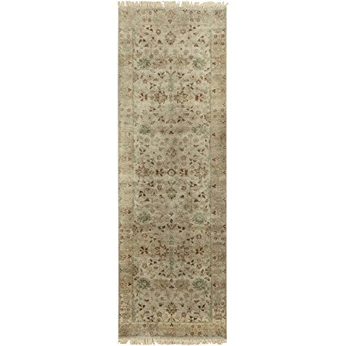 Surya TMS3001-268 Hand Knotted Casual Runner, 2-Feet 6-Inch by 8-Feet, Light Gray/Salmon/Olive - 8' Runner Salmon