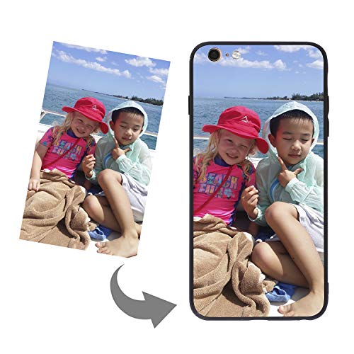 LONTG Customize Your Own Phone Case Personalized Slim Phone Case Cover for iPhone 6/6S Plus DIY Customized Picture Photo Tempered Glass Cover Soft Silicone Rubber Bumper Frame Case Birthday Xmas Gift
