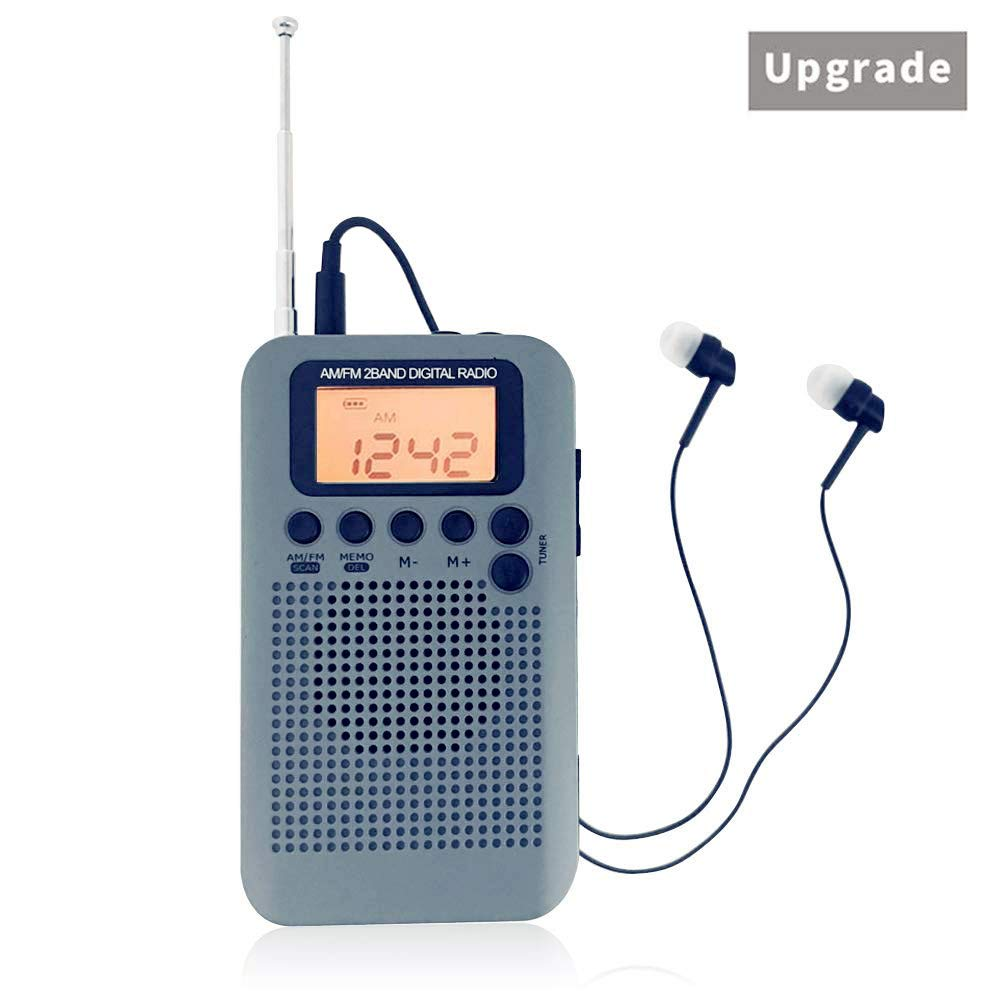 AM/FM Portable Mini Pocket Digital Radio AM FM Switch Personal Transistor Radio Player Built-in Speaker 3.5mm Headphone BCKAKQA【2018 Upgrade Version】