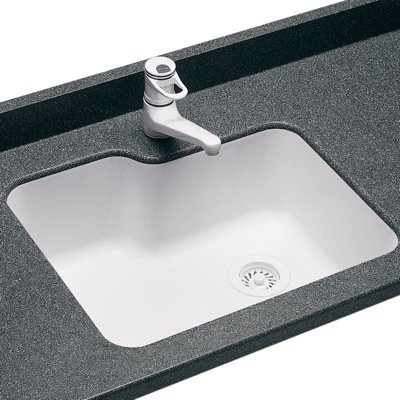 (Swanstone US02215SB.010 Solid Surface Undermount Single-Bowl Kitchen Sink, 25-in L X 21.25-in H X 8.75-in H, White)