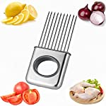 Hvanam Stainless Steel Onion Silcing Holder With 10 Even Prong Easy Hold Tomato Potato Vegetable To Cut,Sliver Color 9 This onion holder not only for onions,also good for vegetables like tomatoes,potatoes It requires kitchen gadgets made by high quality anti rust 18/8 stainless steel,equipped with pointed and reinforced food grade plastic handle,durable,elegant appearance,anti-skid,make you more comfortable and convenient to hold and use.it to create a uniform slice,and more importantly,it helps reduce labor and save time.10 stainless steel sharp tips can be inserted into hard vegetables and fresh meat fish and beef This onion holder,can avoid slicing and cutting injury,innovative design tools is a housewife,chef cooks and kitchen staff ideal lovely gift,make work more fun and convenient cooking
