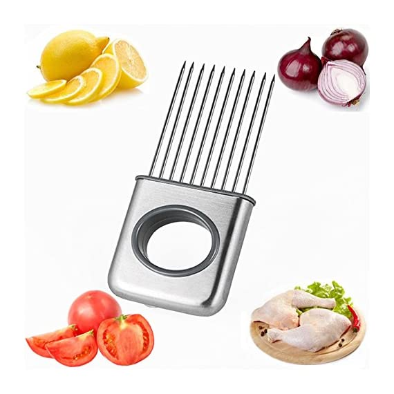 Hvanam Stainless Steel Onion Silcing Holder With 10 Even Prong Easy Hold Tomato Potato Vegetable To Cut,Sliver Color 1 This onion holder not only for onions,also good for vegetables like tomatoes,potatoes It requires kitchen gadgets made by high quality anti rust 18/8 stainless steel,equipped with pointed and reinforced food grade plastic handle,durable,elegant appearance,anti-skid,make you more comfortable and convenient to hold and use.it to create a uniform slice,and more importantly,it helps reduce labor and save time.10 stainless steel sharp tips can be inserted into hard vegetables and fresh meat fish and beef This onion holder,can avoid slicing and cutting injury,innovative design tools is a housewife,chef cooks and kitchen staff ideal lovely gift,make work more fun and convenient cooking