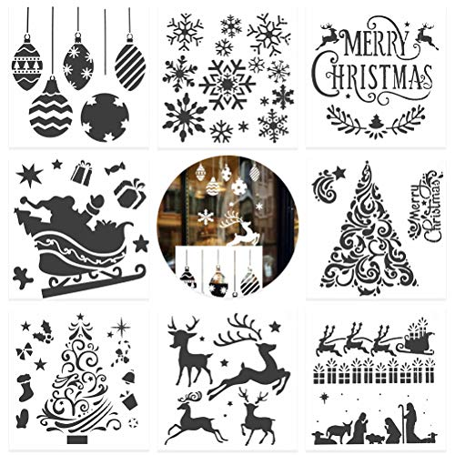 Essentials Wallpaper - 8 Pcs Christmas Painting Template,Vankcp Christmas Spray Snow Template Airbrush Mold Christmas Airbrush Mold for Card DIY Drawing Craft Projects