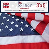 Cheap BBI Flags American Flag: 100% Made in USA Flag, Tough Nylon US Flag with Embroidered Stars & Sewn Stripes, Indoor/Outdoor United States Flag with Brass Grommets – 3×5 American Flag (3×5)