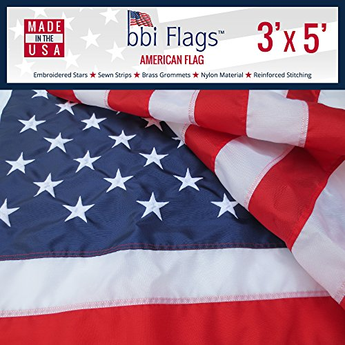 BBI Flags American Flag: 100% Made in USA Flag, Tough Nylon US Flag with Embroidered Stars & Sewn Stripes, Indoor/Outdoor United States Flag with Brass Grommets – 3x5 American Flag (3x5)