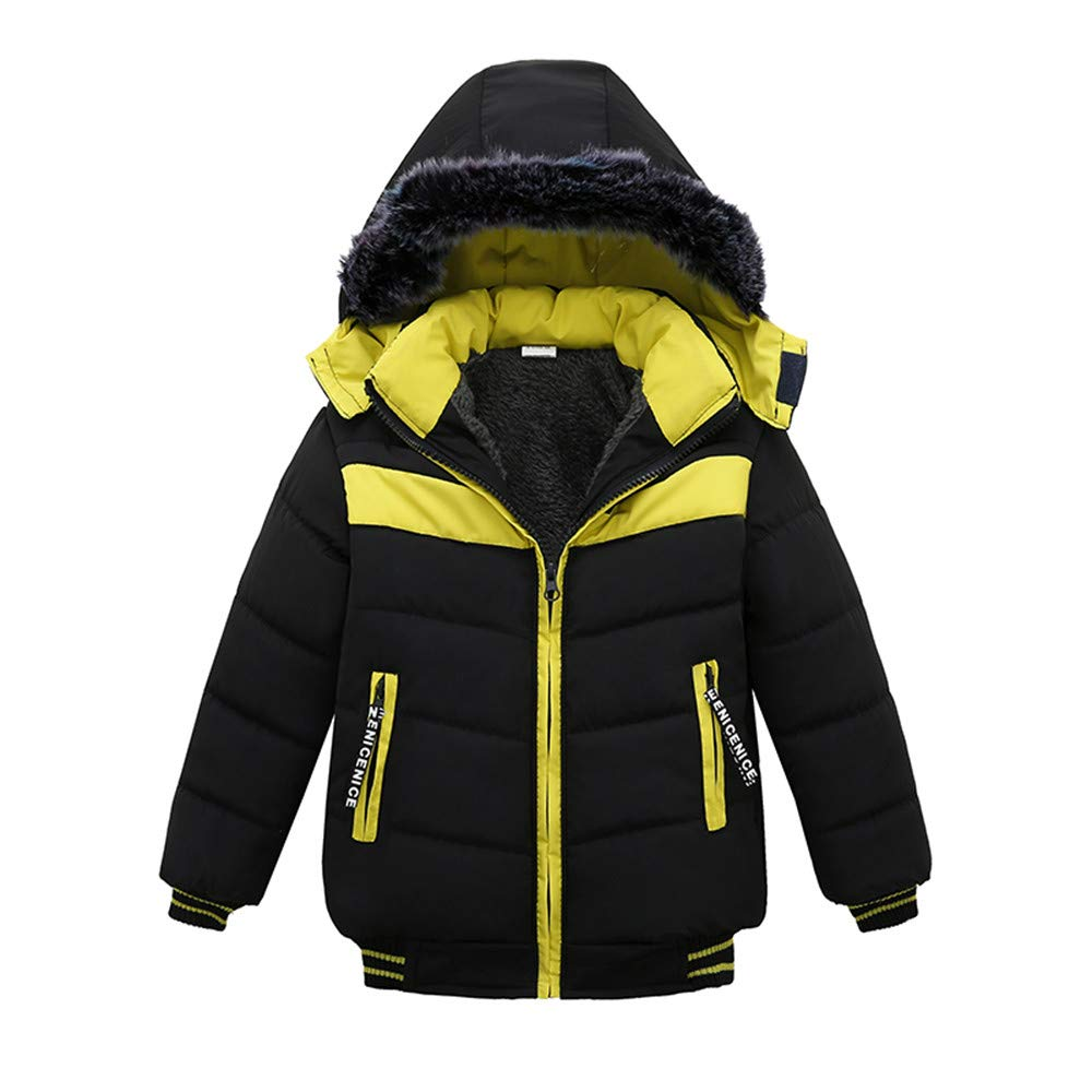 Little Kids Winter Warm Coat,Jchen(TM) Fashion Kids Little Boys Winter Warm Zipper Thick Wind Snow Hoodie Outwear Coats Jacket for 1-4 Y (Age: 1-2 Years Old, Black)
