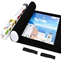 LAVIEVERT Jigsaw Puzzle Roll Mat Felt Mat for Puzzle Storage Puzzle Saver Up to 1500 Pieces, Long Box Package, No Folded Creases, Environmentally Friendly - Black