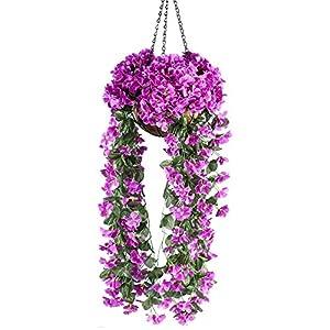 Mixiflor Hanging Flowers, Artificial Violet Flower Wall Wisteria Basket Hanging Garland Vine Flowers Fake Silk Orchid Simulation Rattan Plant Vine Wedding Home Garden Balcony Floral Decoration 19
